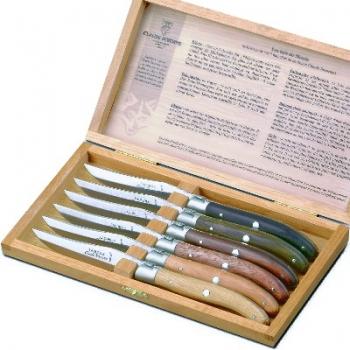 Laguiole Steakmesser, 6 Stck./Box, Ebenh., Palis., Eiche, Gayac, Bubinga, Cade, poliert, Backen mattiert, Maße: L 23 cm