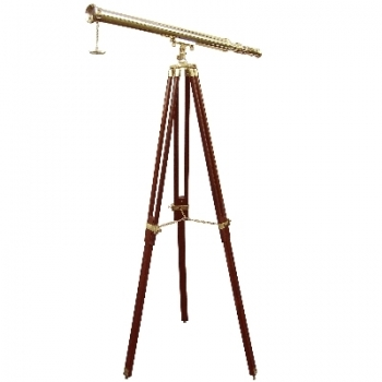 Telescope with Tripod, magnification x 10, l 100 cm, tripod brown with brass fittings, Dimensions: h 160 x Ø 95 cm
