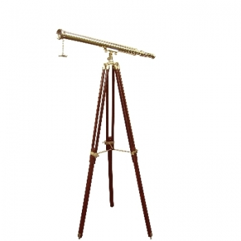 Telescope with Tripod, magnification x 8, l 69 cm, tripod brown with brass fittings, Dimensions: h 130 x Ø 80 cm