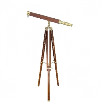 Telescope with Tripod, magnification x 10, l 100 cm, tripod brown with brass fittings, Dimensions: h 130 x Ø 95 cm