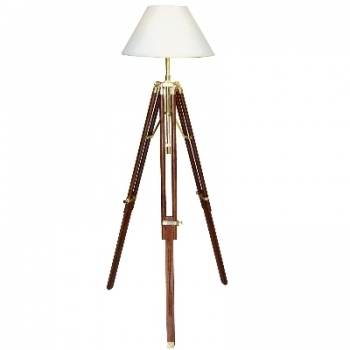 Tripod Lamp with chintz shade, crème white, shiny brass, mahogany coloured, h 123, 146 x Ø 35 cm