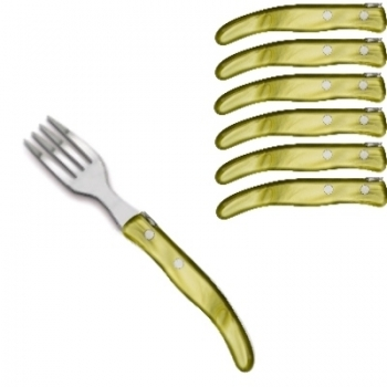 Laguiole Berlingot pastry forks Olive, set of 6 in box, acrylic handles, color: Olive, Dimensions: l 17.5 cm