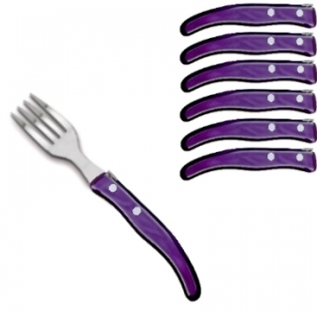 Ensemble de fourchettes à dessert Berlingot Laguiole en coffret, violet, lot de 6, manche en acrylique, dimensions: L 17,5 cm