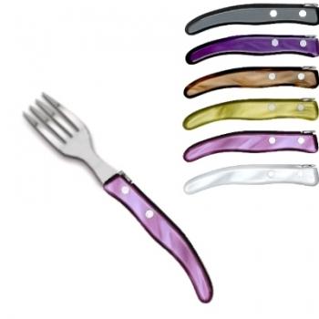 Ensemble Gris-violet de fourchettes à dessert Berlingot Laguiole, coffret, lot de 6, acrylique, coloris: gris, olive, cappuccino, mauve, violet, blanc, dimensions: L 17,5 cm