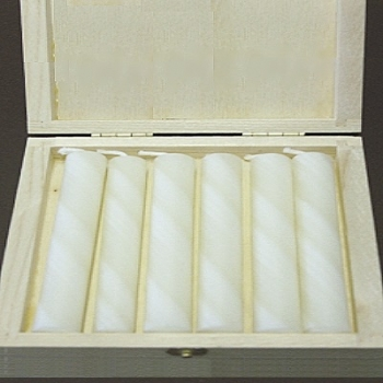 Beeswax Pillar Candles in Box, ivory marbled, 6 pieces per Box, Dimensions: h 10 x Ø 2.5 cm