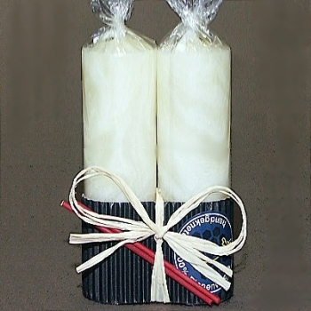 Beeswax Pillar Candle Duo, gift wrapped, ivory marbled, Dimensions: h 15 x Ø 4 cm