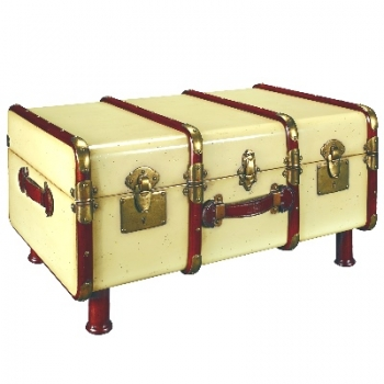 Trunk Table Pullman, antique look, colour ivory/cherry wood, brass hinges, Dimensions: l 86 w 58 x h 46 cm
