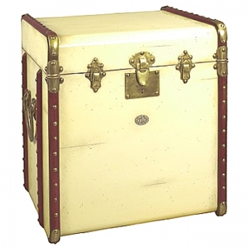 Trunk Table Pullman, small, antique look, colour ivory/cherry wood, brass hinges, Dimensions: w 53 x h 56 x d 45 cm