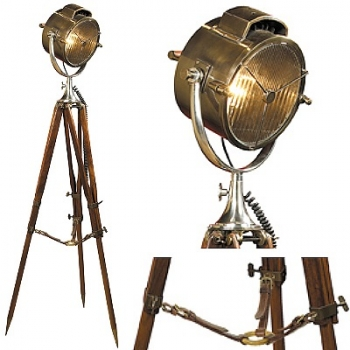 Tripod Lamp Searchlight, polished bronze, aluminium, glass, with rosewood tripod, Dimensions: h 180 x Ø 65 cm