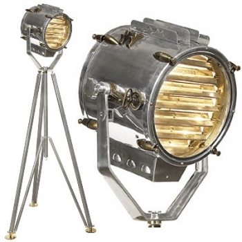 Tripod Lamp Marconi Morse-Spotlight, Aluminium polished/brass, h 195 x Ø foot 100 cm