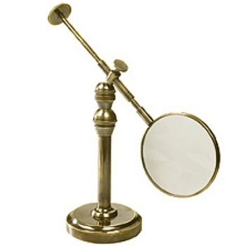 Magnifying Glass with Stand, antique brass, magnification x3, Dimensions glass: l 23 x Ø 10 cm, stand: h 20 x Ø 8 cm