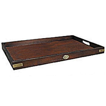 Butler's Tray, precious wood, honey coloured, patined, with brass bound corners, l 63 x w 40 x h 5 cm