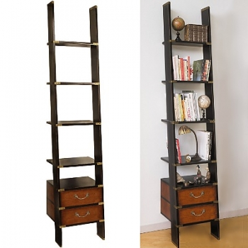 Design Ladder Shelf, antique design, solid wood, black/honey, 2 drawers, 4 shelves, brass hardware, h 245 x w 45 x d 50 cm
