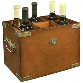 Bottle Box for 6 bottles, antique design, solid wood, honey, brass hardware, h 23 x w 34 x d 22 cm