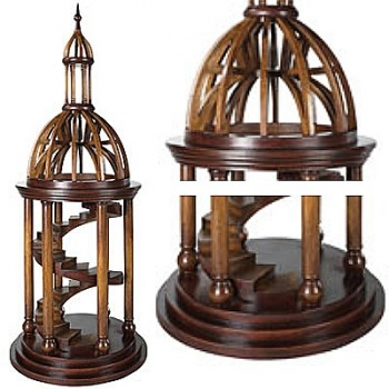 Bell-Tower-Antica, solid wood model, cherry/birch, h 87 x Ø 34 cm