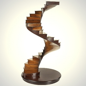 Spiral Stair, solid wood model, cherry/birch, h 37 x Ø 20 cm