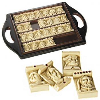 Domino Game Antique with open solid wood presentation cassette, l 29 x w 21 x h 2 cm