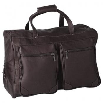 Escapada Travel Bag classic, leather Mocca, compl. lined, 2 att. bags, carrying handles, shoulder strap, h 32 x l 50 x d 32 cm