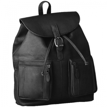 Escapada Rucksack, leather Black, compl. lined, 1 main comp., 2 att. bags, drawstring, carrying handle, h 40 x w 37 x d 10 cm