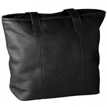 Escapada Shopper Vertical, leather Black, compl. lined, 1 main comp., 2 shoulder straps, h 35 x w 33 x d 15 cm