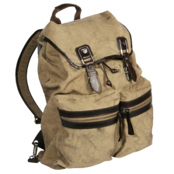 Cancuero Rucksack, Canvas Sand, waterpr./leather Mocca, compl. lined, 1 main comp., mobile phone comp., 2 outer comp., carrying handle, shoulder strap, h 45 x w 36 x d 14 cm