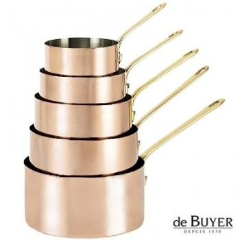 de Buyer, Casseroles, set of 5, 90% copper, 10% stainless steel, solid brass handle, Ø 12/14/16/18/20 cm