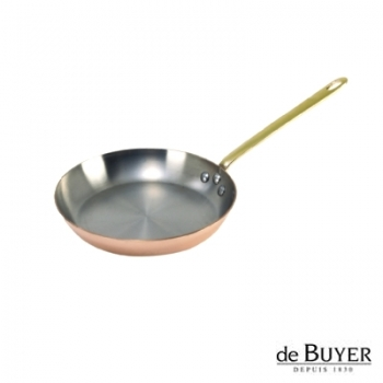 de Buyer, Pan, round, 90% copper, 10% stainless steel, solid brass handle, Ø 24 cm