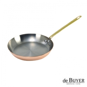 de Buyer, Pan, round, 90% copper, 10% stainless steel, solid brass handle, Ø 28 cm