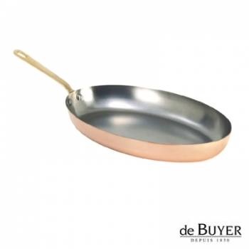 de Buyer, Pan, oval, 90% copper, 10% stainless steel, solid brass handle, L 30 x B 20 cm