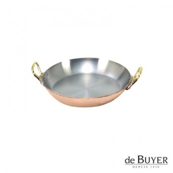 de Buyer, Gratinpfanne, rund, 90% Kupfer, 10% Edelstahl, Griffe Messing, massiv, Ø 12 x H 2,0 cm