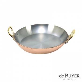 de Buyer, Gratin Pan, round 90% copper, 10% stainless steel, solid brass handles, Ø 20 x h 3.0 cm