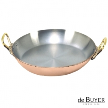 de Buyer, Gratin Pan, round 90% copper, 10% stainless steel, solid brass handles, Ø 24 x h 4.0 cm
