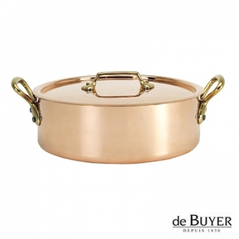 de Buyer, Sautoir with handles and lid, low, 90% copper, 10% stainless steel, solid brass handles, Ø 24 x h 7,0 cm, 3.2 l
