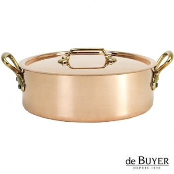 de Buyer, Sautoir with handles and lid, low, 90% copper, 10% stainless steel, solid brass handles, Ø 28 x h 9,0 cm, 5.5 l