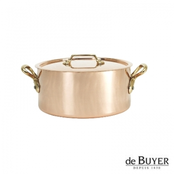 de Buyer, Pot Cocotte with handles and lid, 90% copper, 10% stainless steel, solid brass handles, Ø 16 x h 8.0 cm, 1.6 l