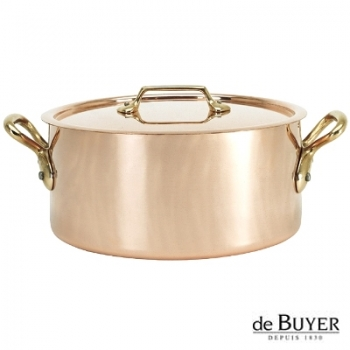 de Buyer, Pot Cocotte with handles and lid, 90% copper, 10% stainless steel, solid brass handles, Ø 24 x h 11.5 cm, 5.2 l