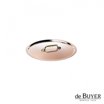 de Buyer, Lid, round, 90% copper, 10% stainless steel, solid brass handle, Ø 12 cm
