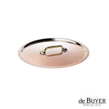 de Buyer, Lid, round, 90% copper, 10% stainless steel, solid brass handle, Ø 16 cm