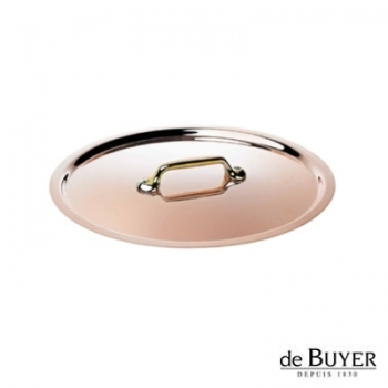 de Buyer, Lid, round, 90% copper, 10% stainless steel, solid brass handle, Ø 18 cm