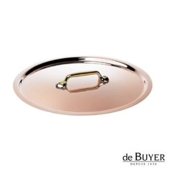 de Buyer, Lid, round, 90% copper, 10% stainless steel, solid brass handle, Ø 20 cm