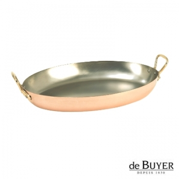 de Buyer, Gratin Pan, oval, 90% copper, 10% stainless steel, solid brass handles, l 32 x w 20 x h 3.5 cm