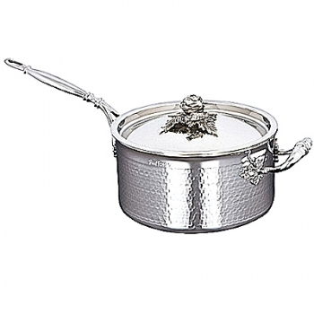 Ruffoni Opus Prima Induction-Casserole w. lid, stainl. steel, hammered and pol., lid knob artichoke/carrot, Ø 20 x h 11 cm