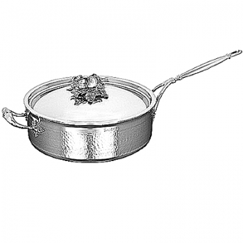 Ruffoni Opus Prima Induction Sauté Pan w. lid, stainl. steel, hammered and pol., lid knob garlic, Ø 26 x h 9 cm