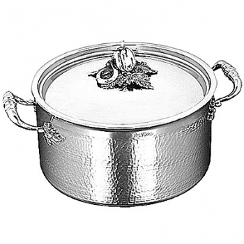 Ruffoni Opus Prima Induction Stock Pot w. lid, high, stainl. steel, hammered and pol., lid knob pepper/cucumber/bean, Ø 26 x h 14.5 cm