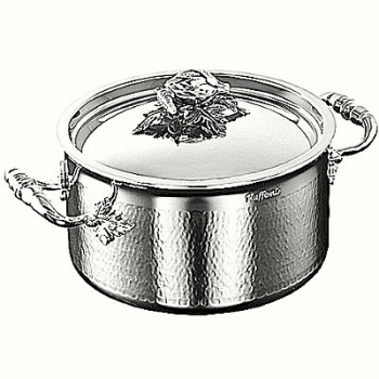 Ruffoni Opus Prima Induction Soup Pot w. lid, stainl. steel, hammered and pol., lid knob pumpkin/gourd, Ø 20 x h 11 cm