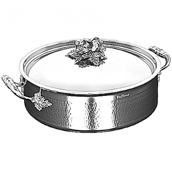 Ruffoni Opus Prima Induction Stock Pot w. lid, low, stainl. steel, hammered and pol., lid knob garlic/pepper, Ø 26 x h 9 cm