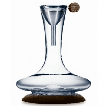 Decanter Set Discus, with funnel, crystal glass, mouth blown, capacityt: 1.2 l, Coaster ash wood, brown, h 27 x Ø 21 cm