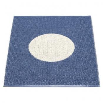 Pappelina Teppich Vera, klein, Blau/Vanille, Softvinyl-Bandgewebe, L 90 x B 70 cm