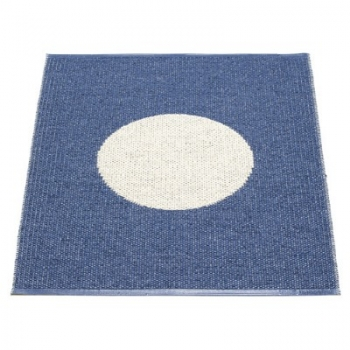 Pappelina Carpet Vera, small, blue/vanilla, softvinyl-bandweave, l 90 x w 70 cm
