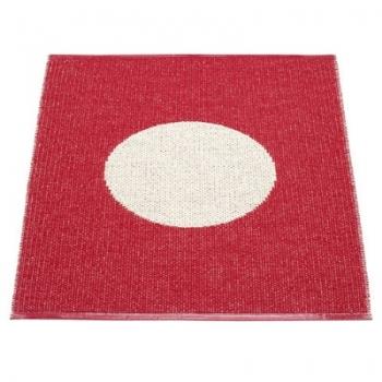 Pappelina Teppich Vera, klein, Kirsch/Vanille, Softvinyl-Bandgewebe, L 90 x B 70 cm
